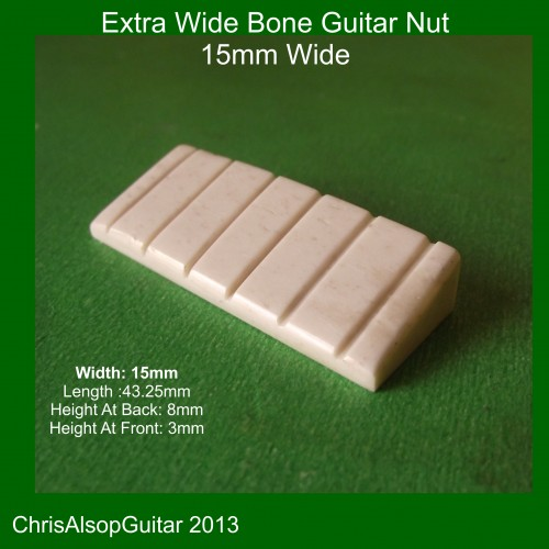 15mm Wide Bone Guitar Nut. For extra large nut slot