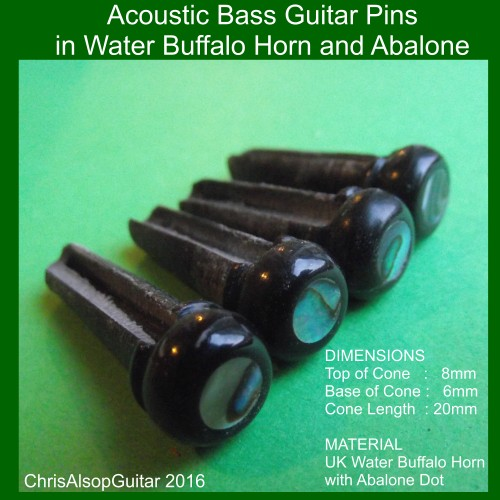 Acoustic Bass Pins in Water Buffalo Horn with Abalone Inlay