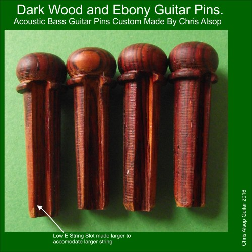 Acoustic Bass Pins in Dark Wood with Ebony Inlay