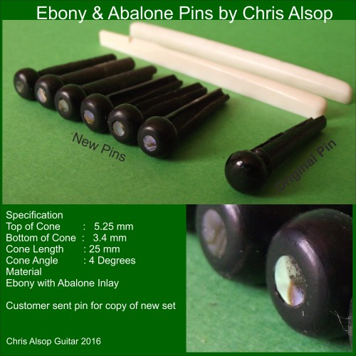 Guitar Pins in Ebony with Abalone Inlay