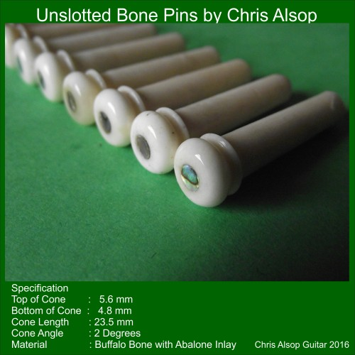 Unslotted Guitar Pins in Buffalo Bone with Abalone Inlay