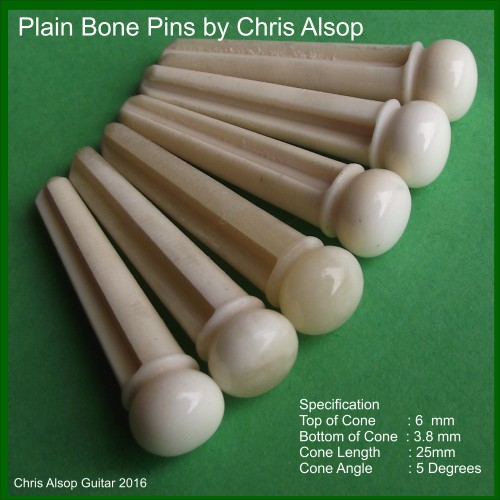 Plain Buffalo Bone Guitar Bridge Pins