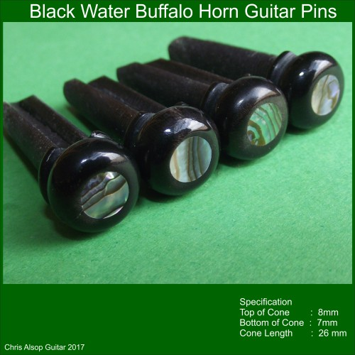 Buffalo Horn and Abalone Custom Made Guitar Pins