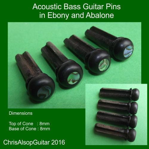 Acoustic Bass Pins in Ebony and Abalone