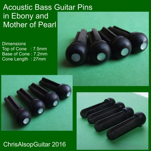 Acoustic Bass Pins in Ebony and Mother of Pearl