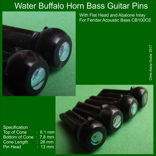 Black Buffalo horn Bass Pins with Flat Head