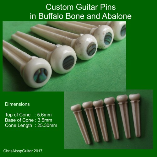 Buffalo Bone and Abalone Custom Made Guitar Pins