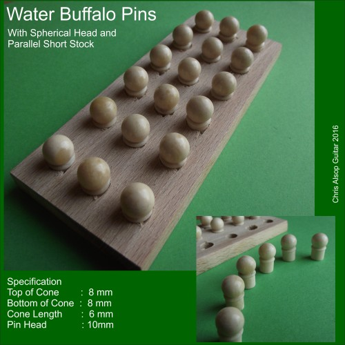 Parallel Buffalo Bone Pins with Sperical Head