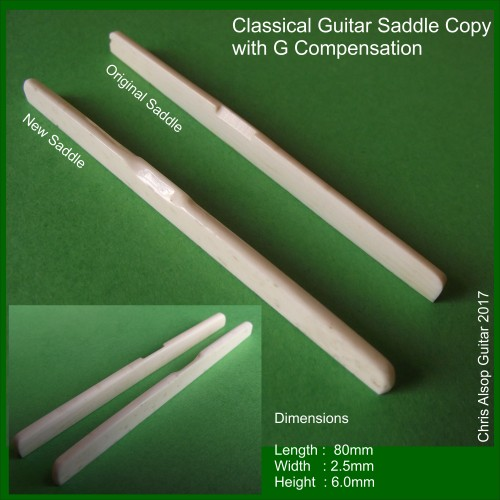 Classical Guitar Saddle Copy in Bone