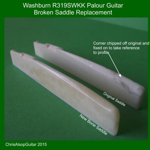 Washburn R319SWKK Palour Guitar Saddle in Bone