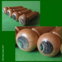 Acoustic Bass Guitar Pins. Beech Hardwood with Abalone