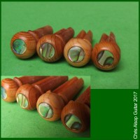English Yew with Abalone Acoustic Bass Guitar Pins