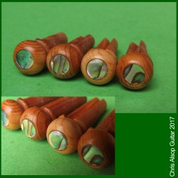 Acoustic Bass Guitar Pins. English Yew with Abalone