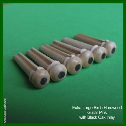 Birch Hardwood with Black Oak Dot. 6.0mm. Large Guitar Pins.