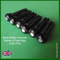 Buffalo Horn with MoP Inlay Guitar Bridge Pins. 5.7mm