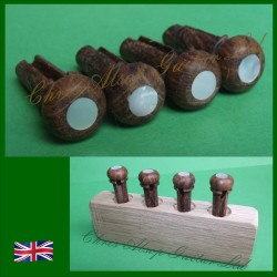 Brown Oak and Mother of Pearl Acoustic Bass Guitar Pins