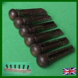 Black Walnut All Wood Guitar Pins. 5.7mm
