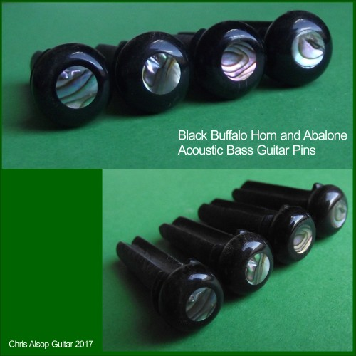 Buffalo Horn and Abalone Acoustic Bass Pins